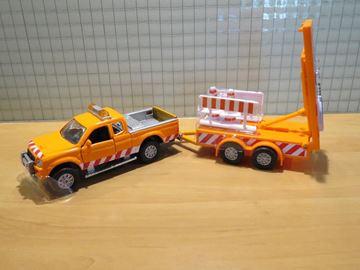Afbeelding van Mitsubishi strassendienst met signalerings trailer